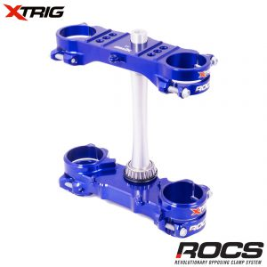 Xtrig ROCS Tech Triple Clamp Set Blue Kawasaki KXF250/450 13-16 (OS 23mm) M12 (Complete With Bar Mounts)