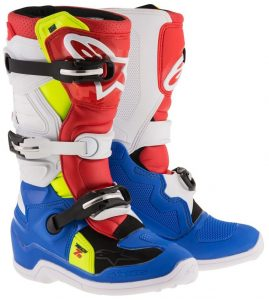 2018 Alpinestars Tech 7s YOUTH Boot Blue/White/Red/Yellow Flo