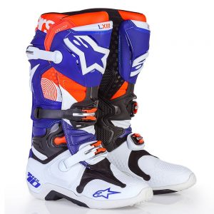 2017 Alpinestars Tech 10 LE Indianapolis Boot White/Blue/Orange Fluo