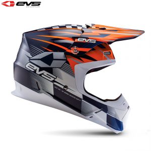 2017 EVS T5 Speedway Adult Helmet Orange/Blue
