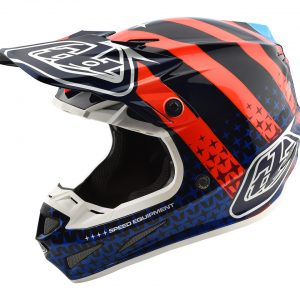 2018 Troy Lee SE4 Carbon Streamline Helmet Navy/Orange