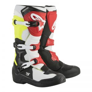 2018 Alpinestars Tech 3 Boots Black/White/Red/Flo Yellow