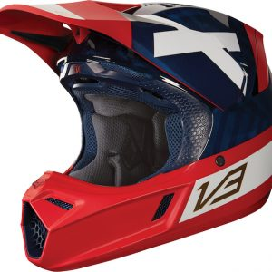 2018 Fox V3 Preest Helmet Navy/Red