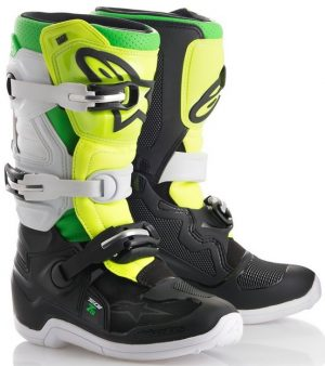 2018 Alpinestars Tech 7s LE Prodigy YOUTH Boot Black/White/Green/Flo Yellow