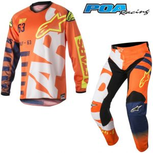 2018 Alpinestars YOUTH Racer Braap Kit Combo Orange Flo/Dark Blue/White