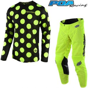 2018 Troy Lee YOUTH GP Air Polka Dot Kit Combo Black/Flo Yellow