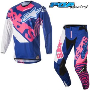 2018 Alpinestars YOUTH Racer Venom Kit Combo Blue/Pink Flo/White