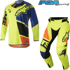 2018 Alpinestars Techstar Factory Kit Combo Yellow Flo/Blue/Black/Orange Flo