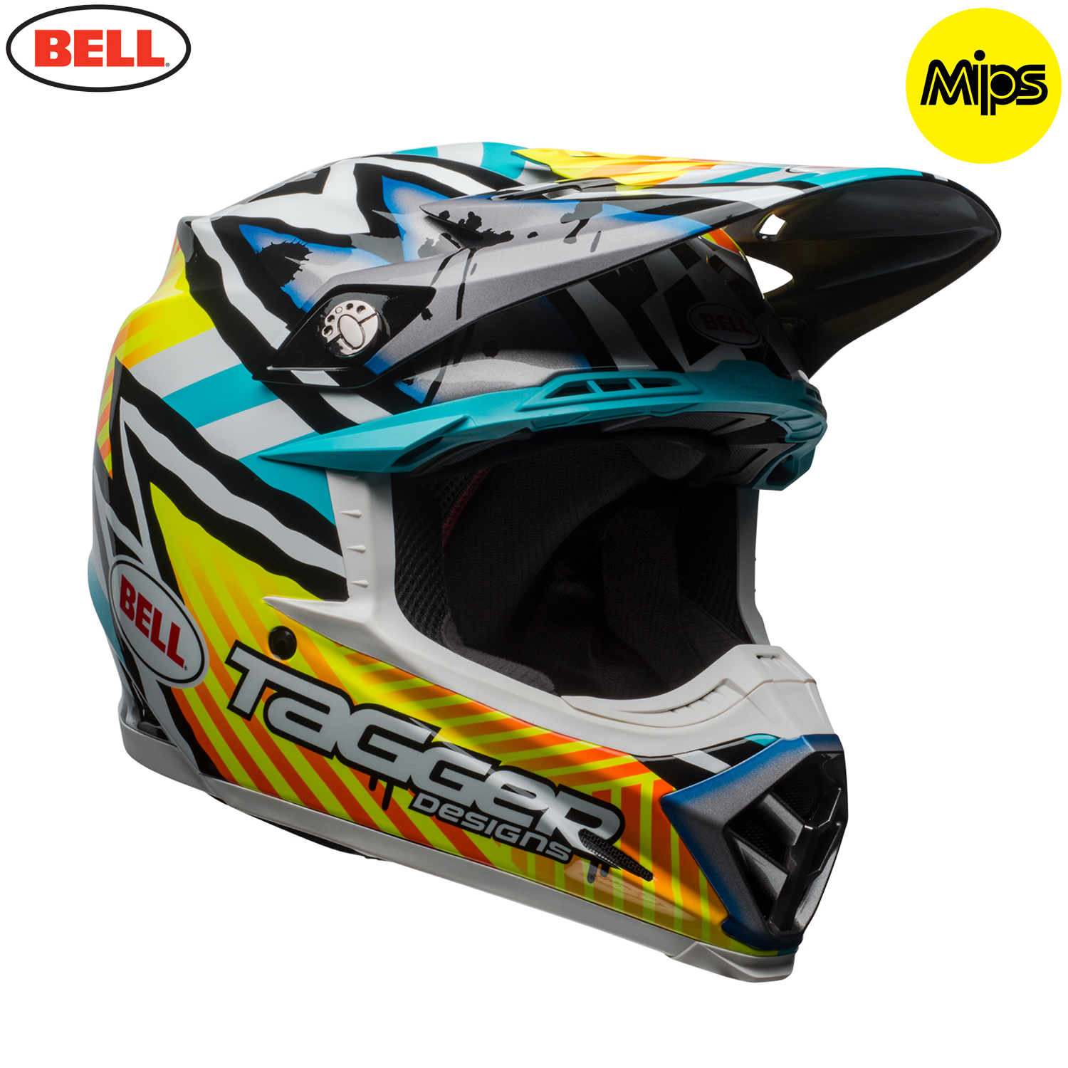 2018 bell moto 9 mips helmet tagger yellow blue white assymetric. Black Bedroom Furniture Sets. Home Design Ideas