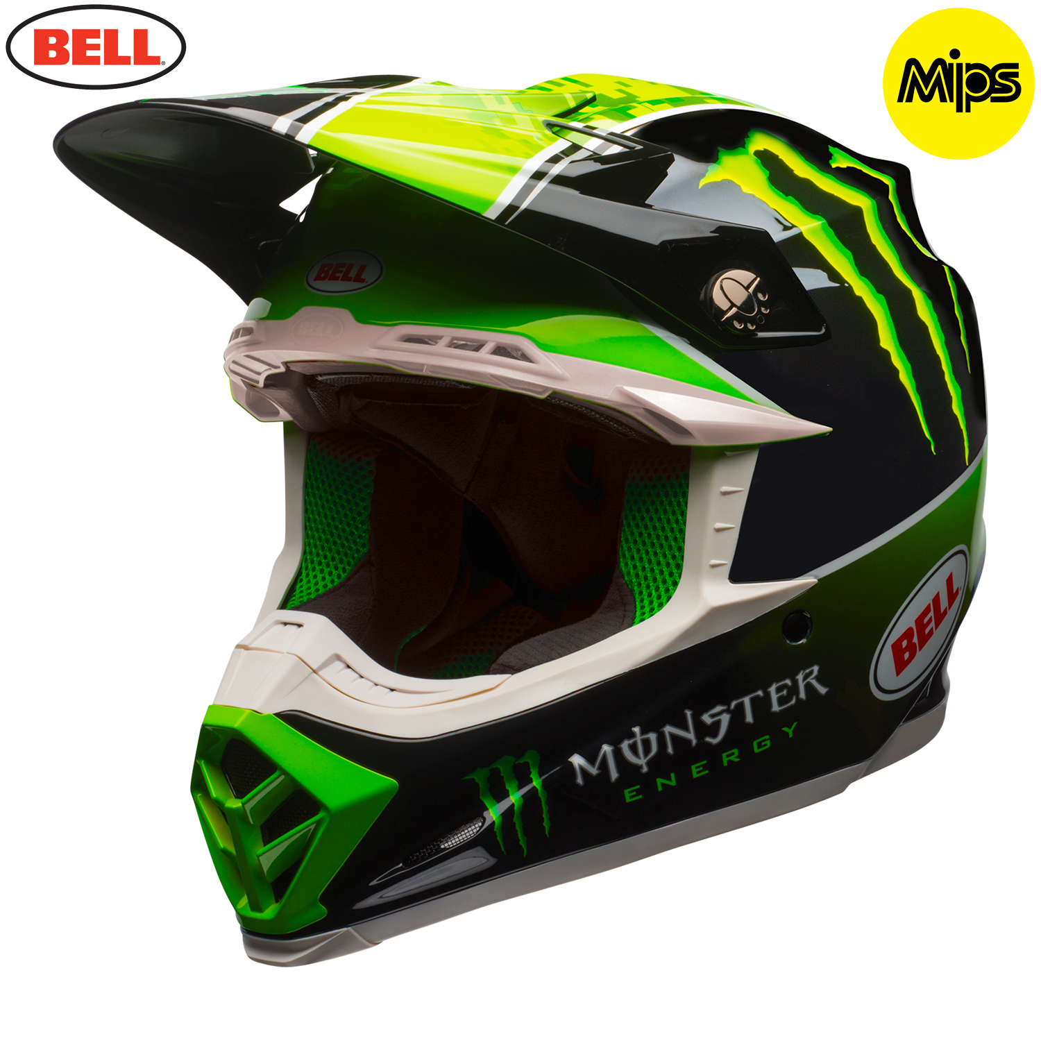 2018 bell moto 9 mips tomac monster energy helmet black green. Black Bedroom Furniture Sets. Home Design Ideas