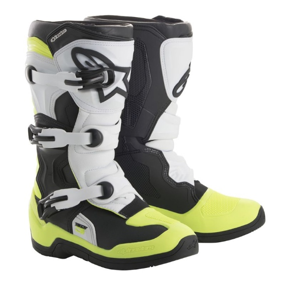 Alpinestars Tech 3s YOUTH Boot Black/White/Yellow Flo - 2014018 125 d1 tech 3s youth boot