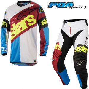 2018 Alpinestars Racer Flagship Kit Combo Red/Aqua/White