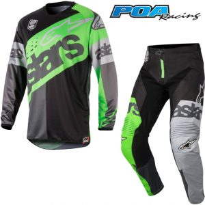 2018 Alpinestars Racer Flagship Kit Combo Green Flo/Anthracite/Black