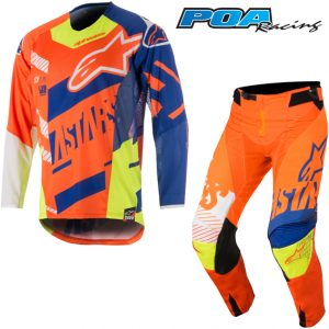 2018 Alpinestars YOUTH Racer Screamer Kit Combo Orange Flo/Blue/White/Yellow Flo
