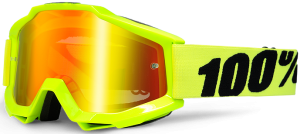 100% Accuri YOUTH Goggle Fluo Yellow – Red Mirror Lens