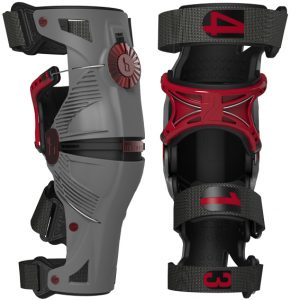 Mobius X8 Knee Braces Pair Grey/Crimson