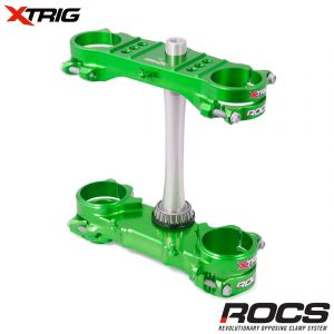 Xtrig ROCS Tech Triple Clamp Set Green Kawasaki KXF250/450 13-16 (OS 23mm) M12 (Complete With Bar Mounts)