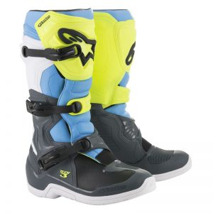 2019 Alpinestars Tech 3 Boots Cool Grey/Yellow Fluo/Cyan