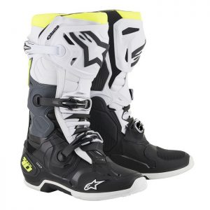 2019 Alpinestars Tech 10 Boot Black/White/Yellow Fluo