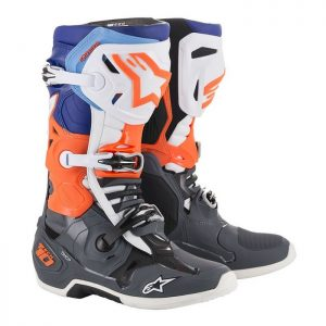 2019 Alpinestars Tech 10 Boot Cool Grey/Orange Fluo/Blue/White