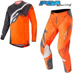 2019 Alpinestars Techstar Factory Kit Combo Anthracite/Orange Fluo