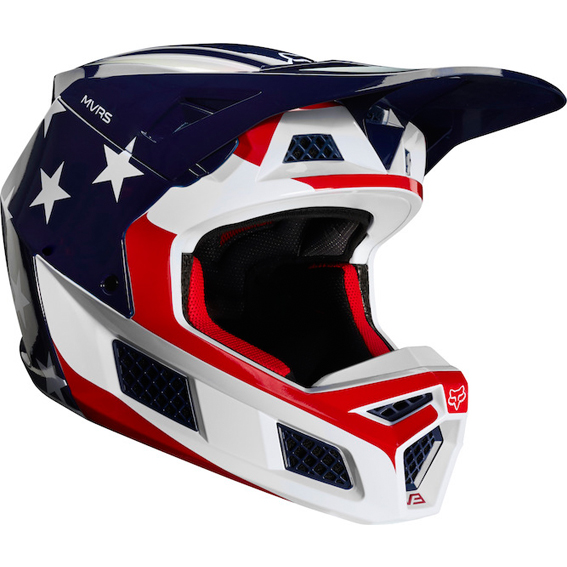 Fox Racing Main Dirt Motocross Goggle Stripe White//Red//Blue