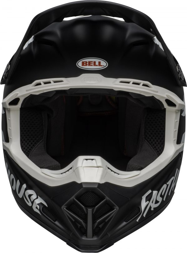 Bell moto-9 mips fasthouse signia helmet black/white - bell moto 9 mips dirt helmet fasthouse signia matte black white front
