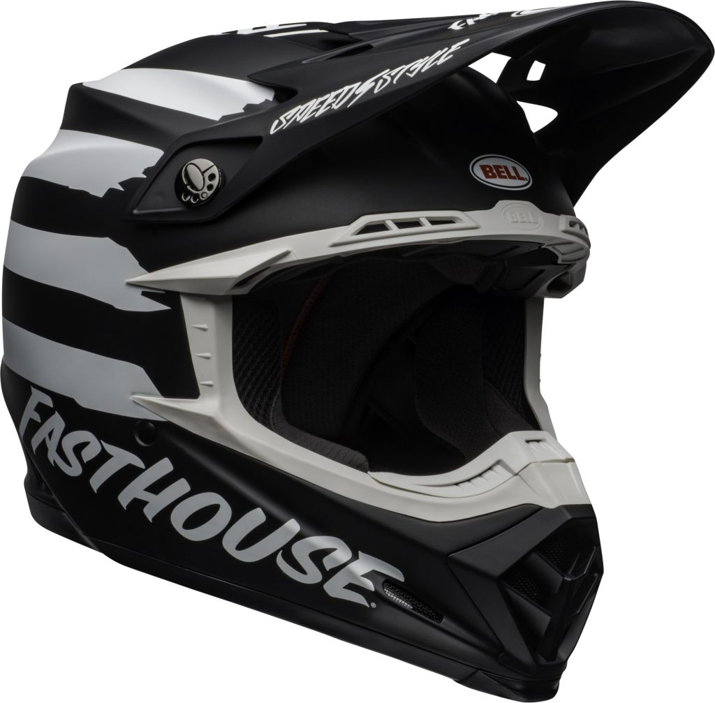 Bell moto-9 mips fasthouse signia helmet black/white - bell moto 9 mips dirt helmet fasthouse signia matte black white front right