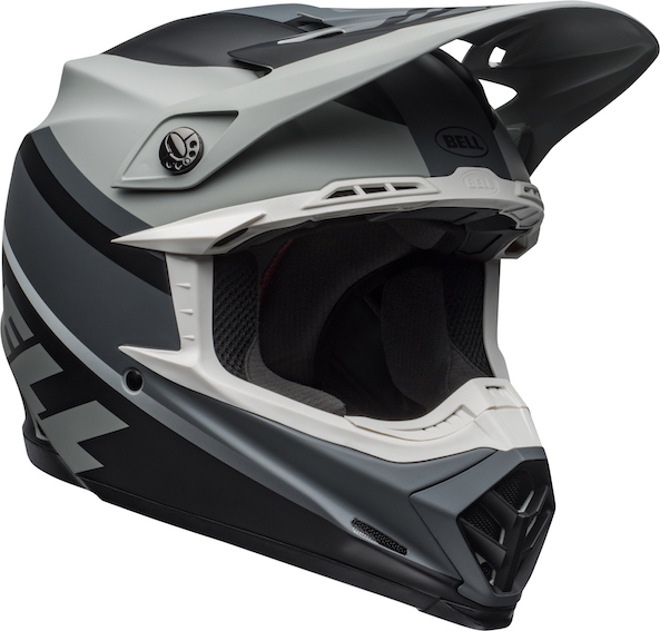 Bell moto-9 mips prophecy helmet grey/black/white - bell moto 9 mips dirt helmet prophecy matte gray black white front right