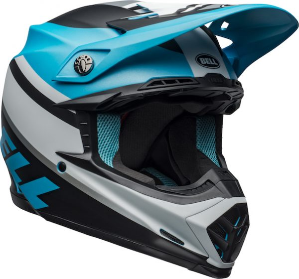 Bell moto-9 mips prophecy helmet white/black/blue - bell moto 9 mips dirt helmet prophecy matte white black blue front right