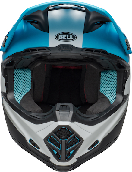 Bell moto-9 mips prophecy helmet white/black/blue - bell moto 9 mips dirt helmet prophecy matte white black blue front