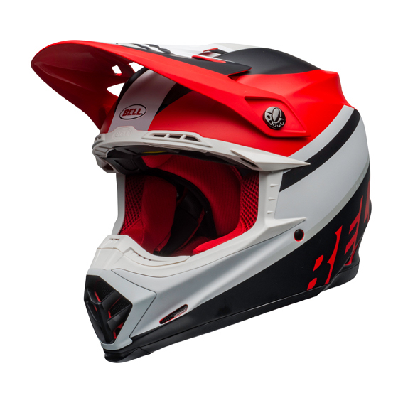 Bell moto-9 mips prophecy helmet white/red/black - bell moto 9 mips dirt helmet prophecy matte white red black front left