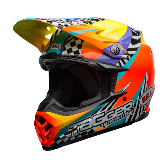Bell Moto-9 Mips Tagger Breakout Helmet Orange/Yellow - bell moto 9 mips dirt helmet tagger breakout gloss orange yellow front left