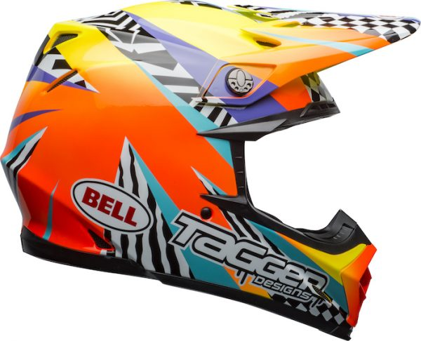 Bell Moto-9 Mips Tagger Breakout Helmet Orange/Yellow - bell moto 9 mips dirt helmet tagger breakout gloss orange yellow right