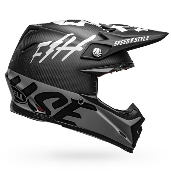 Bell moto-9 carbon flex fasthouse wrwf helmet black/white/grey - fasthouse