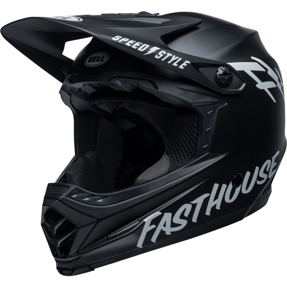 2020 bell youth moto-9 mips fasthouse helmet matte black/white - bell moto 9 youth mips dirt helmet fasthouse matte black white front left