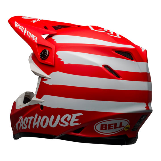 Bell Moto-9 Mips Fasthouse Signature Helmet Red/White - bell moto 9 mips dirt helmet fasthouse signia matte red white back left