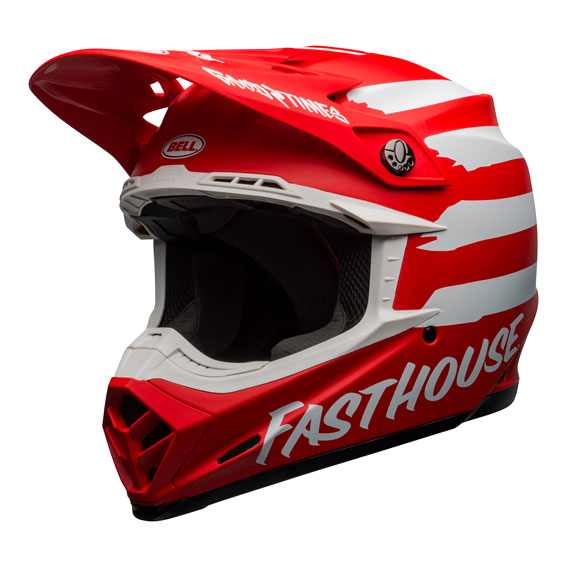 Bell Moto-9 Mips Fasthouse Signature Helmet Red/White - bell moto 9 mips dirt helmet fasthouse signia matte red white front left
