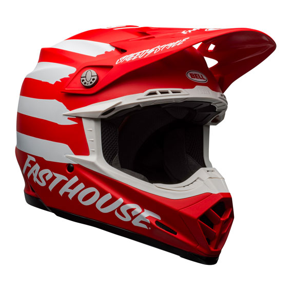 Bell Moto-9 Mips Fasthouse Signature Helmet Red/White - bell moto 9 mips dirt helmet fasthouse signia matte red white front right