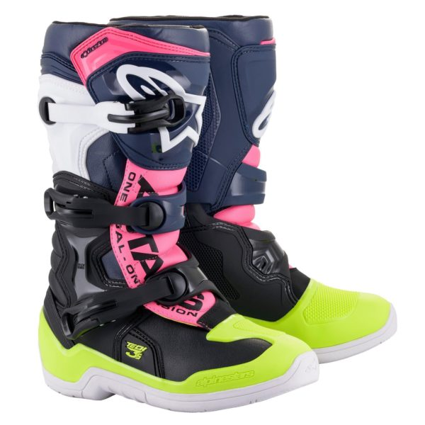Alpinestars Tech 3s YOUTH Boot Black/Blue/Pink Flo - 2014018 1176 fr tech 3s youth boot web c0b0b5c7 1b2a 44c3 baca