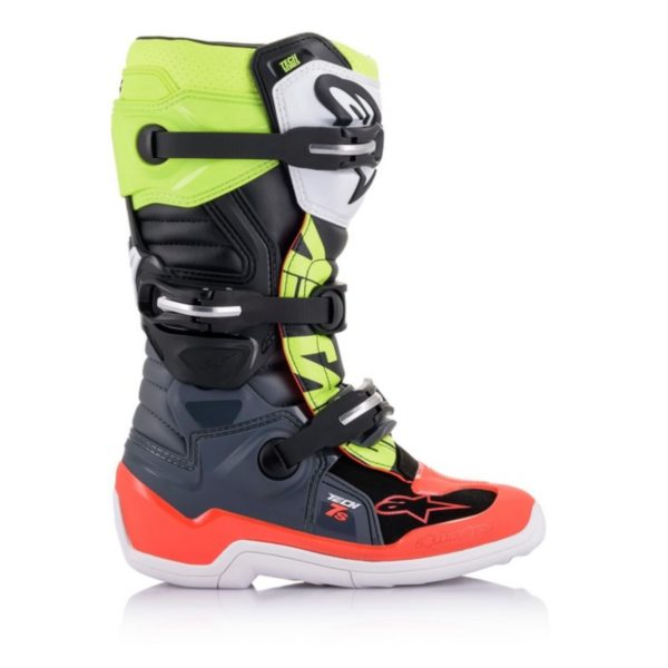 Alpinestars tech 7s youth boots grey/red fluo/yellow fluo - a15017905807 1