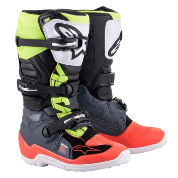 Alpinestars tech 7s youth boots grey/red fluo/yellow fluo - a15017905807