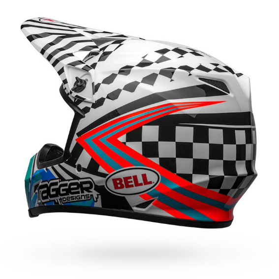 Bell MX-9 Mips Check Me Out Helmet White/Black - bell mx 9 mips dirt motorcycle helmet tagger check me out gloss black white back left