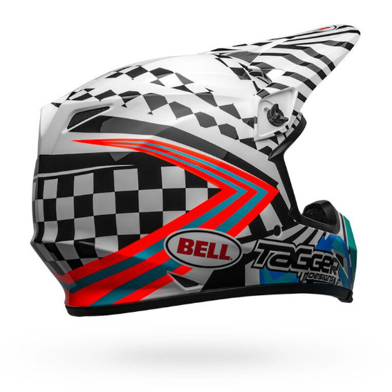 Bell mx-9 mips check me out helmet white/black - bell mx 9 mips dirt motorcycle helmet tagger check me out gloss black white back right