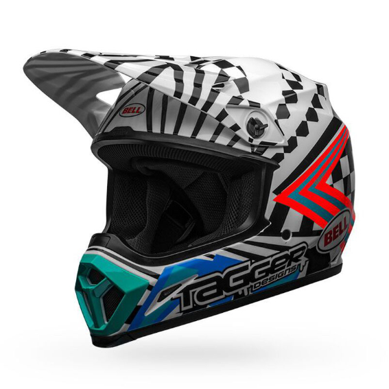Bell mx-9 mips check me out helmet white/black - bell mx 9 mips dirt motorcycle helmet tagger check me out gloss black white front left