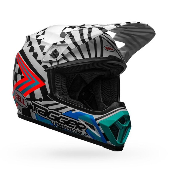 Bell mx-9 mips check me out helmet white/black - bell mx 9 mips dirt motorcycle helmet tagger check me out gloss black white front right