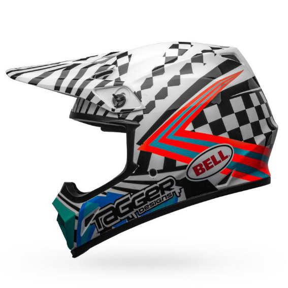 Bell mx-9 mips check me out helmet white/black - bell mx 9 mips dirt motorcycle helmet tagger check me out gloss black white left