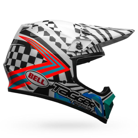 Bell mx-9 mips check me out helmet white/black - bell mx 9 mips dirt motorcycle helmet tagger check me out gloss black white right2