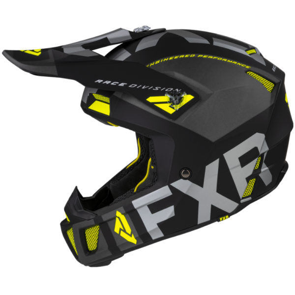 2021 fxr clutch evo helmet black/charcoal/hi-vis - clutchevo helmet blackcharhivis 200609  1065 left