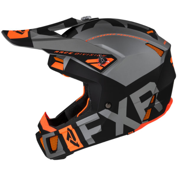 2021 fxr clutch evo helmet black/lt grey/orange - clutchevo helmet blackltgreyorange 200609  1005 left